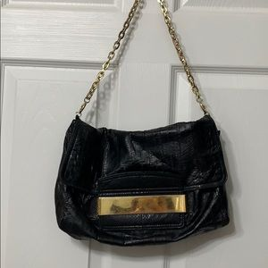 JIMMY CHOO Black Leather Shoulder Purse Gold Chain